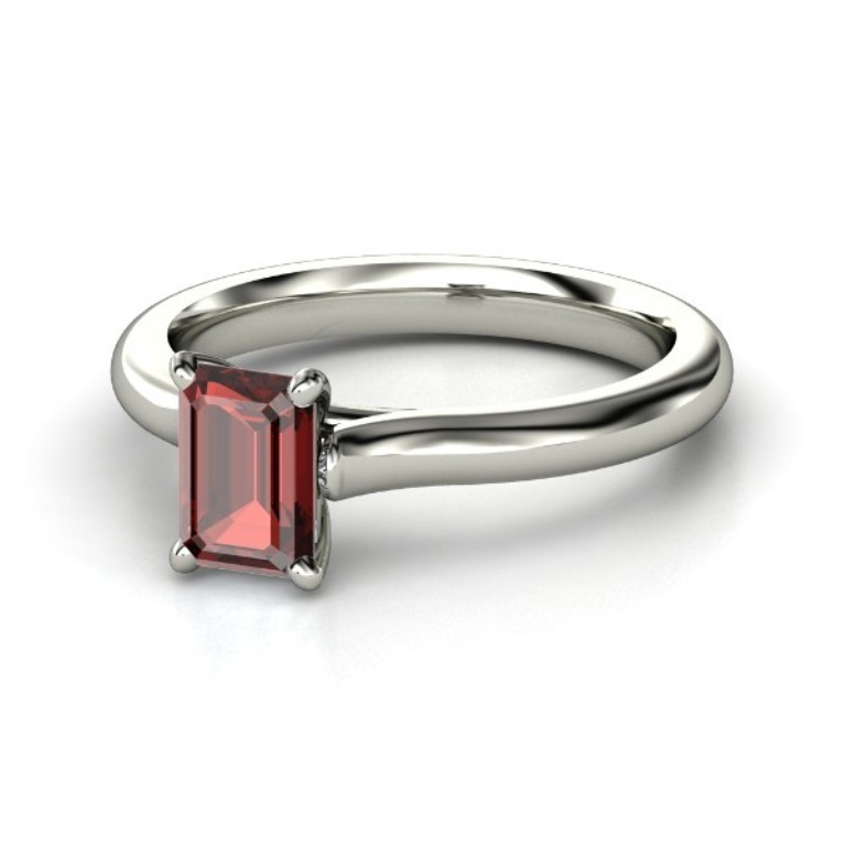 emerald-cut-red-garnet-palladium-ring 35 Fabulous Antique Palladium Engagement Rings