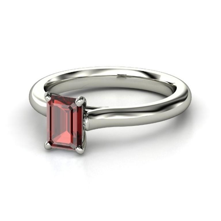 emerald-cut-red-garnet-palladium-ring 35 Fabulous Antique Palladium Engagement Rings