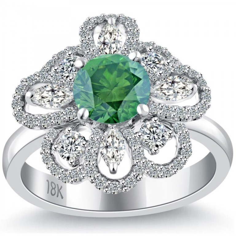 fd-361-1_3 30 Fascinating & Dazzling Green diamond rings
