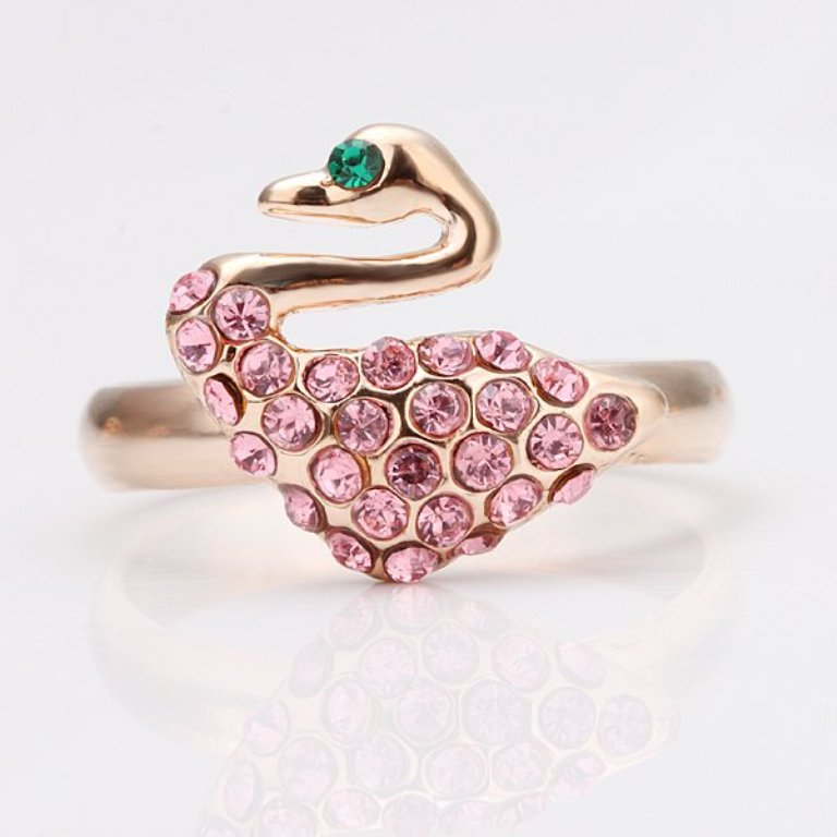 free-shipping-crystal-rose-gold-plated-in-shape-of-swan-engagement-rings-wedding-rings-with-CZ Top 70 Dazzling & Breathtaking Rose Gold Engagement Rings