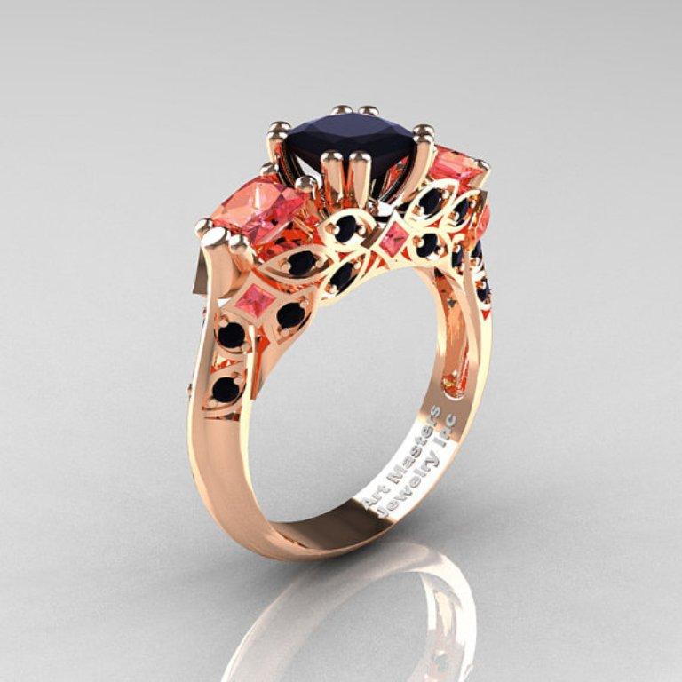 full_size 50 Non-Traditional Black Diamond Rose Gold Engagement Rings