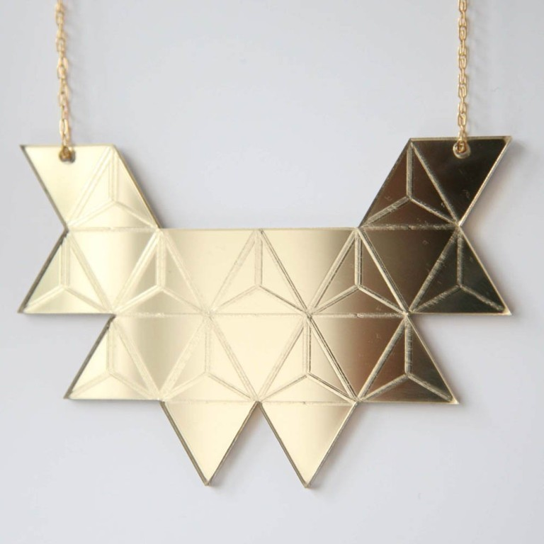 gold-mirrored-triangle-necklace-rebecca-boatfield 30 Non-traditional & Unusual Gold Necklaces