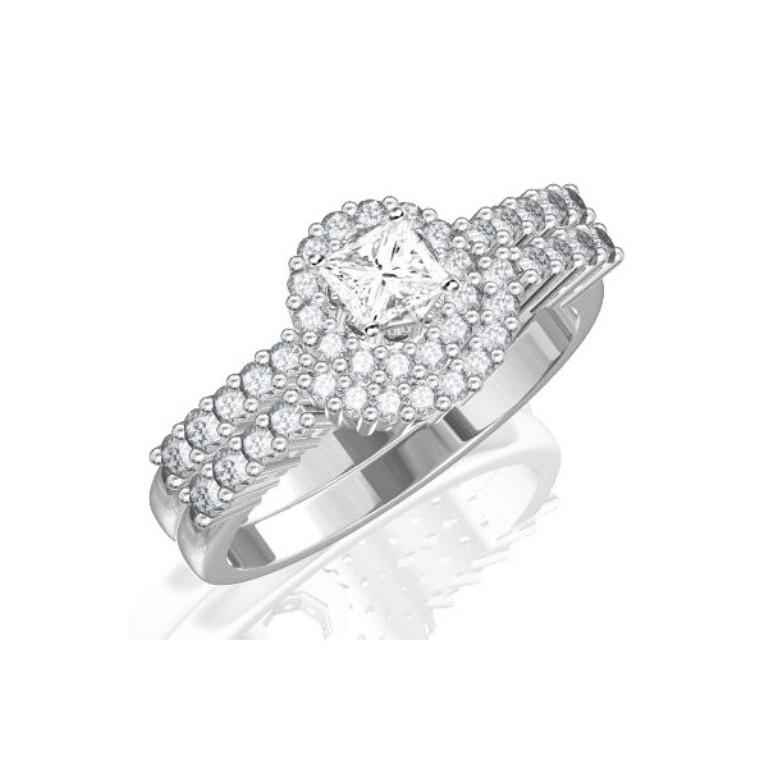 halo-wedding-ring-set-on 35 Dazzling & Catchy Bridal Wedding Ring Sets