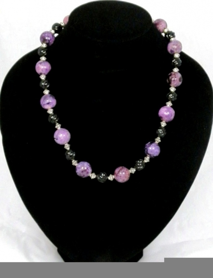 hand-made-chunky-purple-jasper-and-carved-black-onyx-bead-necklace-391-p 65 Fabulous & Stunning Handmade Beaded Gemstone Jewelries
