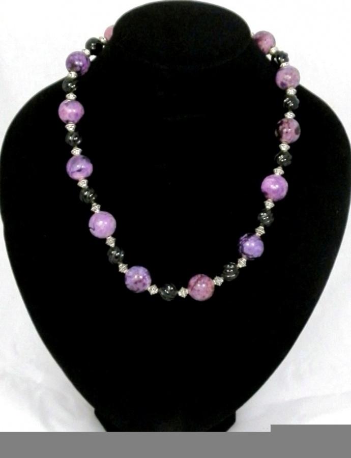 hand-made-chunky-purple-jasper-and-carved-black-onyx-bead-necklace-391-p 65 Fabulous & Stunning Handmade Beaded Gemstone Jewelries