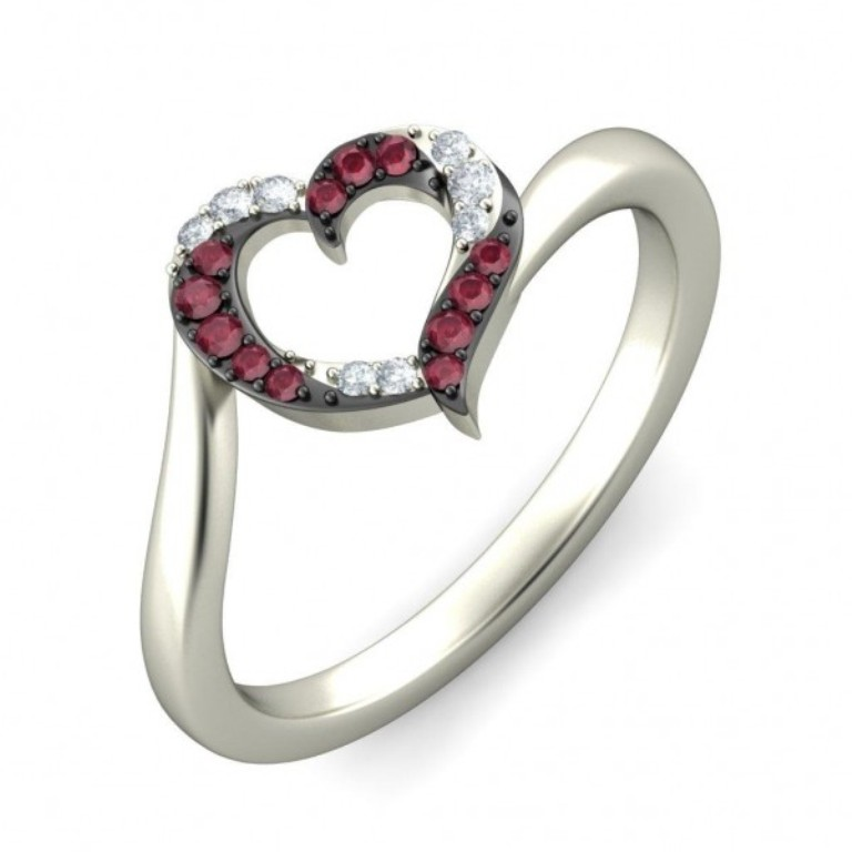heart-shape-diamond-and-ruby-ring-in-white-gold 55 Fascinating & Marvelous Ruby Eternity Rings