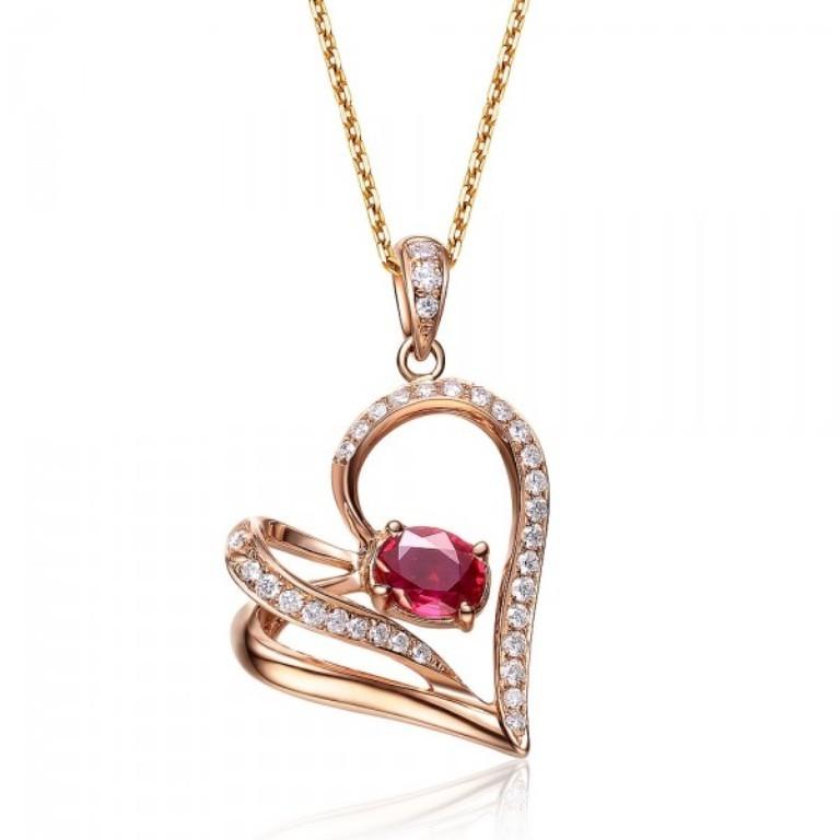 heart-shape-ruby-and-diamond-pendant-on-18k-rose-gold 50 Unique Diamond Necklaces & Pendants