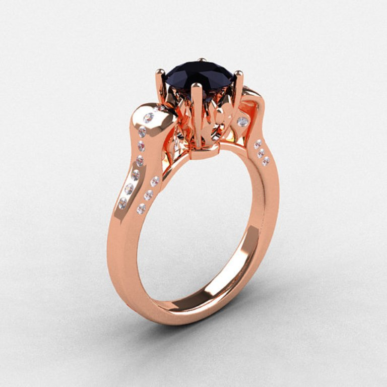 il_570xN.342037299 50 Non-Traditional Black Diamond Rose Gold Engagement Rings