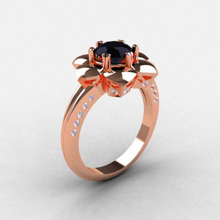 il_570xN.342207203 50 Non-Traditional Black Diamond Rose Gold Engagement Rings