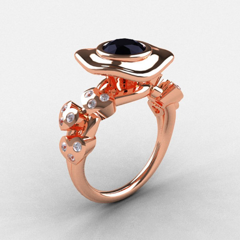 il_570xN.344305056 50 Non-Traditional Black Diamond Rose Gold Engagement Rings