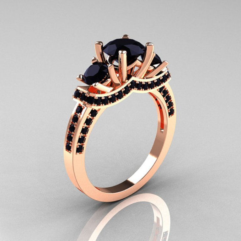 il_570xN.344765091 50 Non-Traditional Black Diamond Rose Gold Engagement Rings