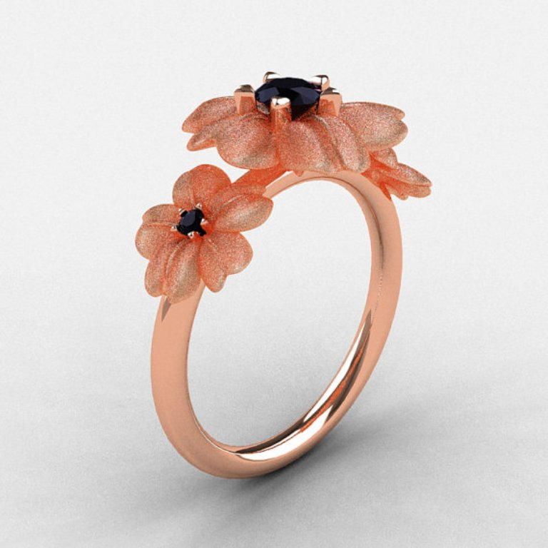 il_570xN.345999237 50 Non-Traditional Black Diamond Rose Gold Engagement Rings