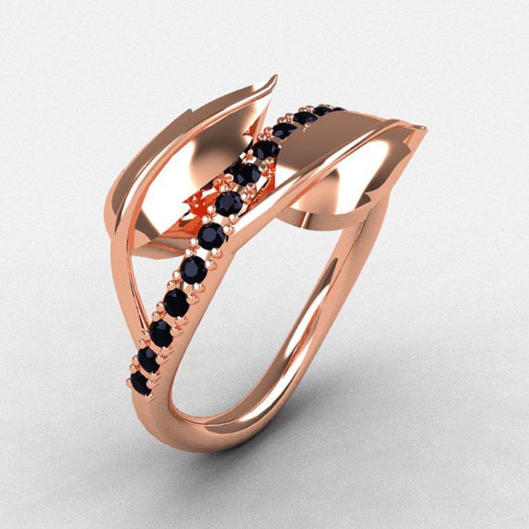 il_570xN.353896565_6x4v 50 Non-Traditional Black Diamond Rose Gold Engagement Rings