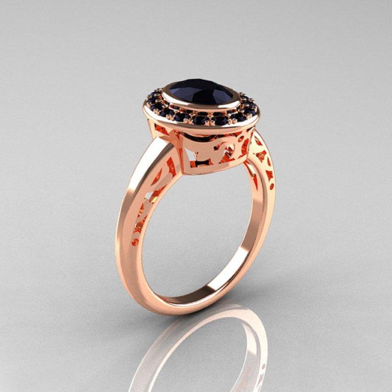 il_570xN.368243015_e6b3 50 Non-Traditional Black Diamond Rose Gold Engagement Rings