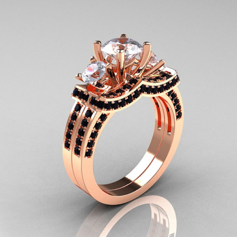 il_570xN.373842614_fs3k 50 Non-Traditional Black Diamond Rose Gold Engagement Rings