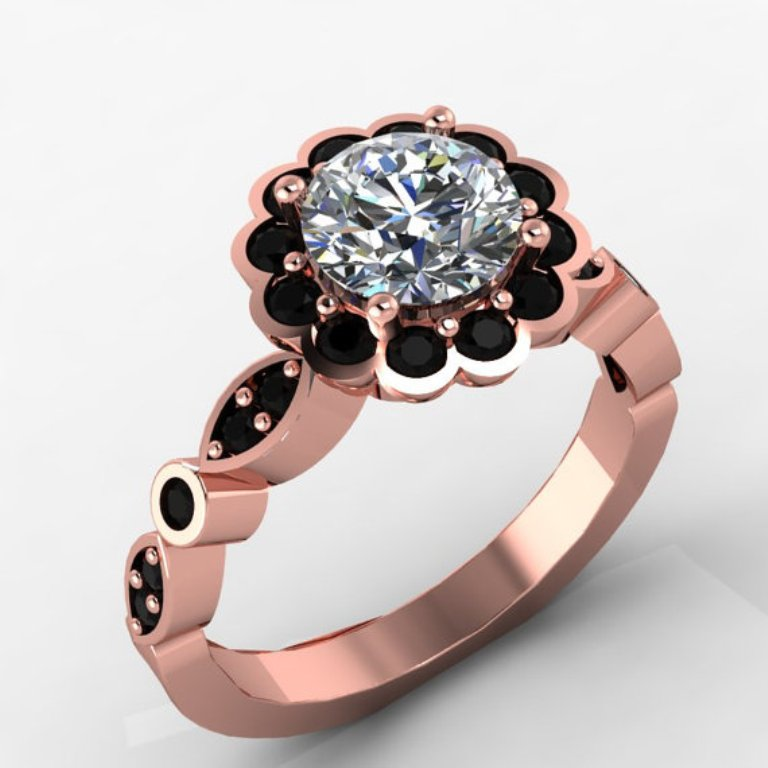 il_570xN.390108972_fr5l 50 Non-Traditional Black Diamond Rose Gold Engagement Rings