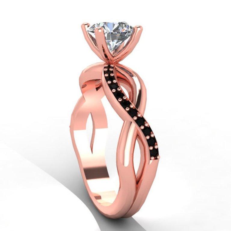 il_570xN.417883604_m5xo 50 Non-Traditional Black Diamond Rose Gold Engagement Rings