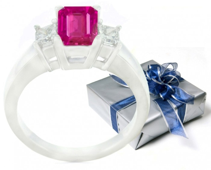 image-pretty-pink-sapphire-and-diamond-three-stone-engagement-rings1 60 Magnificent & Breathtaking Colored Stone Engagement Rings