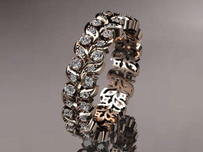 import-14k_rose_gold_diamond_vine_and_leaf_wedding_ring_engagement_ring_wedding_band_ADLR36-8509120f6f6aef61acf02fd44984b767 Top 60 Stunning & Marvelous Rose Gold Wedding Bands