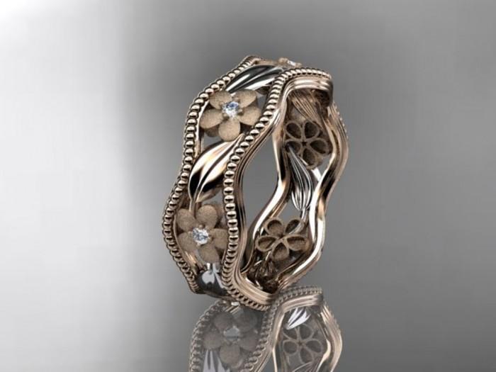 import-14kt_rose_gold_diamond_flower_wedding_ring_engagement_ring_wedding_band_ADLR_190-5c0aef432abaf0716deefe140387f965 Top 60 Stunning & Marvelous Rose Gold Wedding Bands