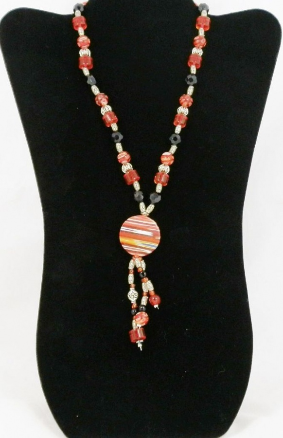 long-red-and-black-millifiore-glass-bead-handmade-statement-necklace-1776-p 65 Fabulous & Stunning Handmade Beaded Gemstone Jewelries