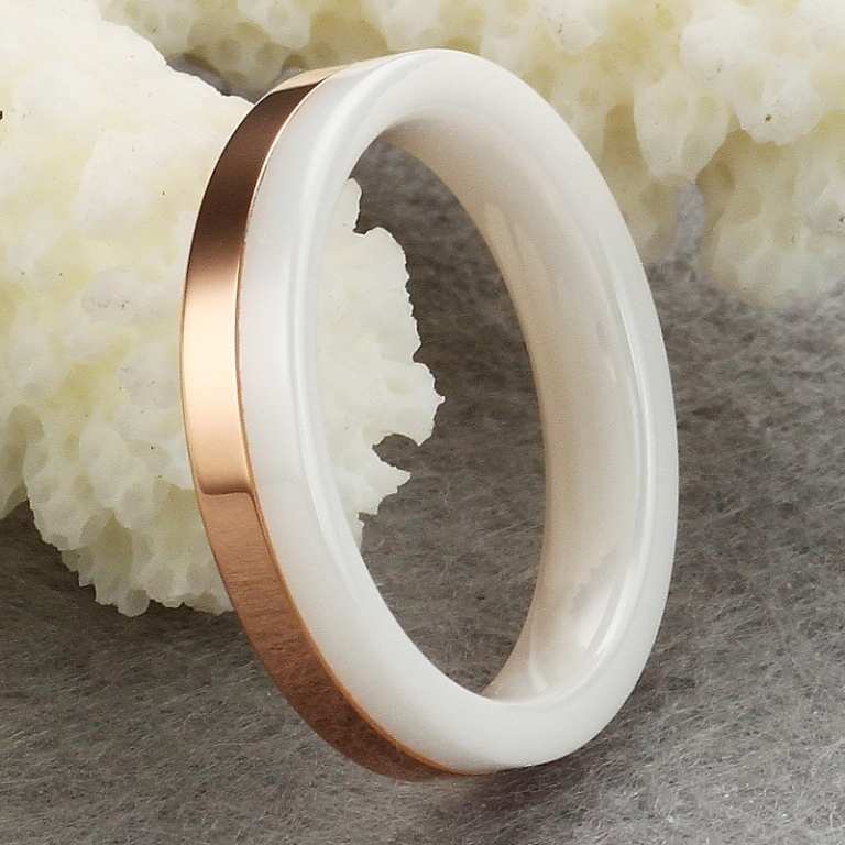 min-order-10-White-Ceramic-Rose-Gold-Plated-font-b-Ring-b-font-Unisex-Men 60 Unbelievable Ceramic Wedding Bands for Him & Her