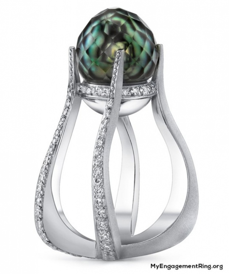 most-beautiful-unusual-pearl-engagement-ring 40 Unique & Unusual Wedding Rings for Him & Her
