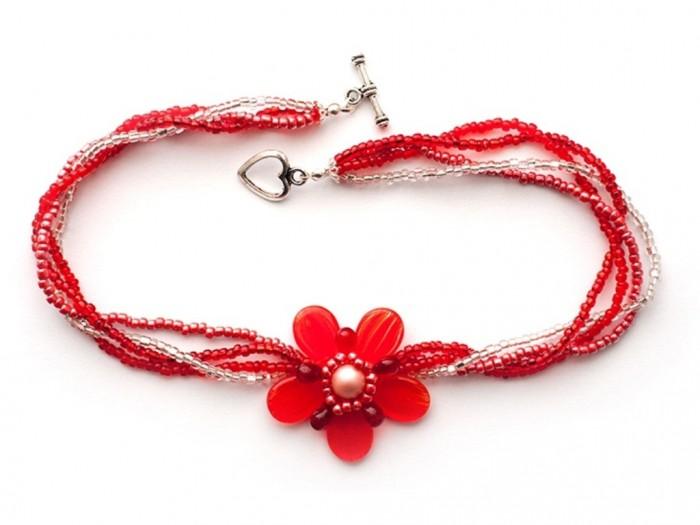 neck_red-flower-beaded 65 Fabulous & Stunning Handmade Beaded Gemstone Jewelries