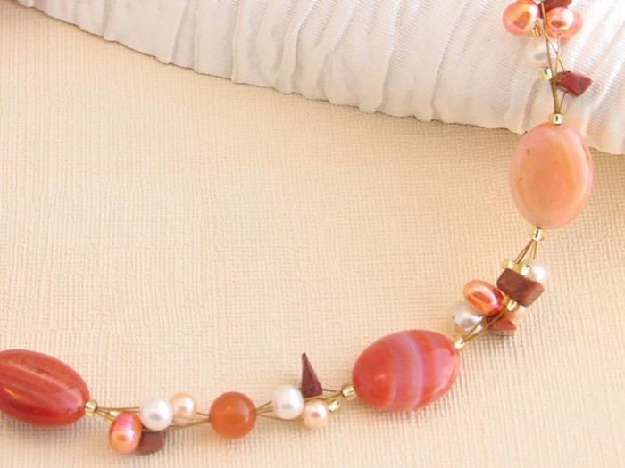 orange-cluster-neck-a 65 Fabulous & Stunning Handmade Beaded Gemstone Jewelries