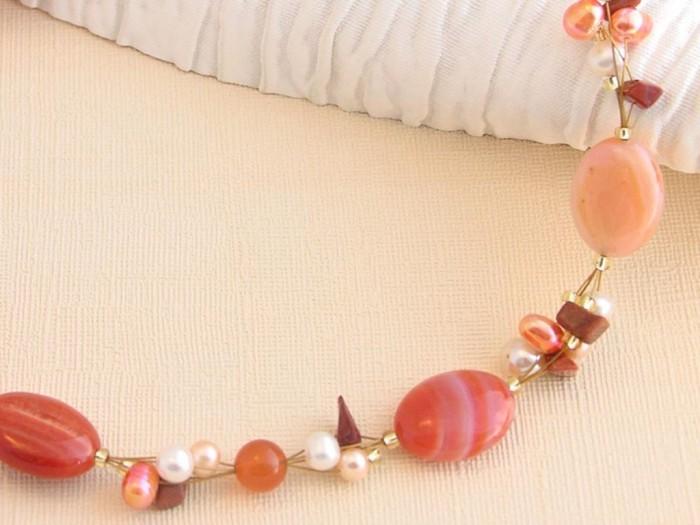 orange-cluster-neck-a 65 Fabulous & Stunning Handmade Beaded Gemstone Jewelries