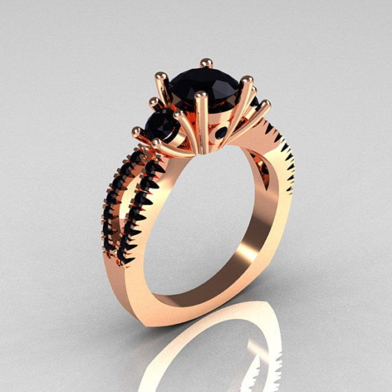 original.. 50 Non-Traditional Black Diamond Rose Gold Engagement Rings