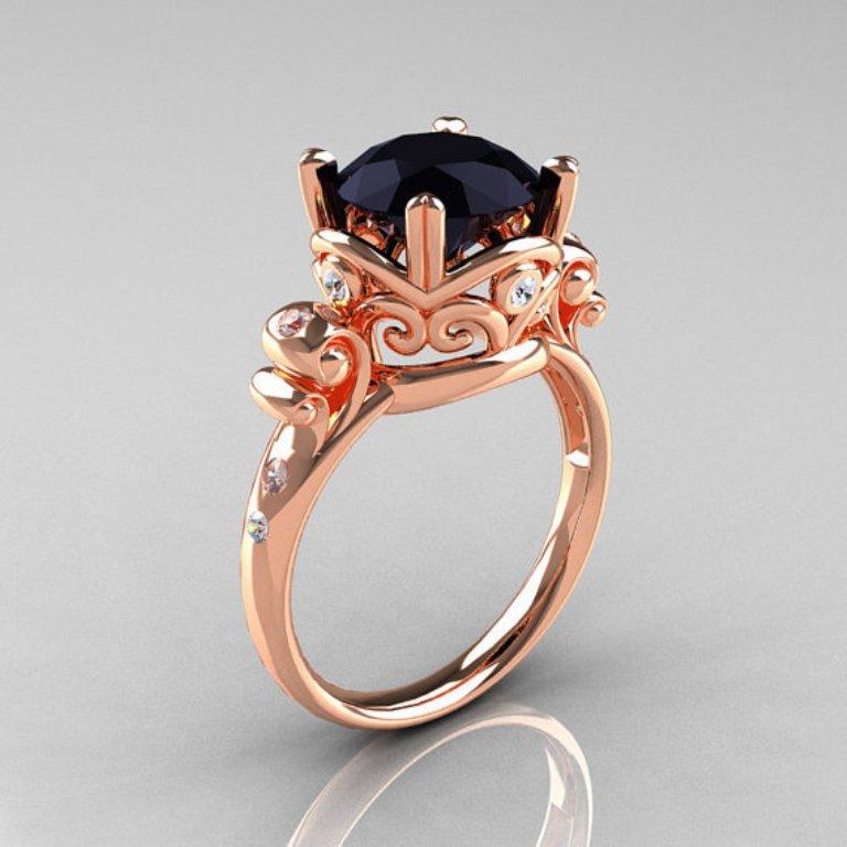 original.1 50 Non-Traditional Black Diamond Rose Gold Engagement Rings