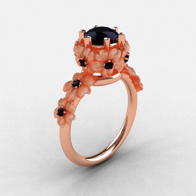original2 50 Non-Traditional Black Diamond Rose Gold Engagement Rings