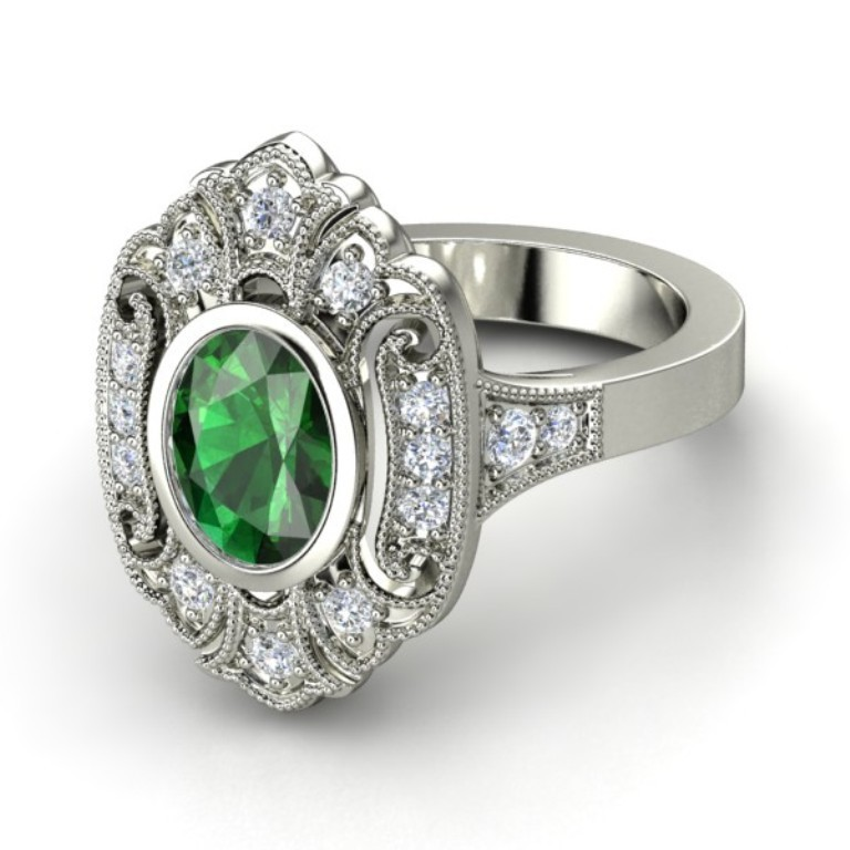 oval-emerald-palladium-ring-with-diamond 35 Fabulous Antique Palladium Engagement Rings