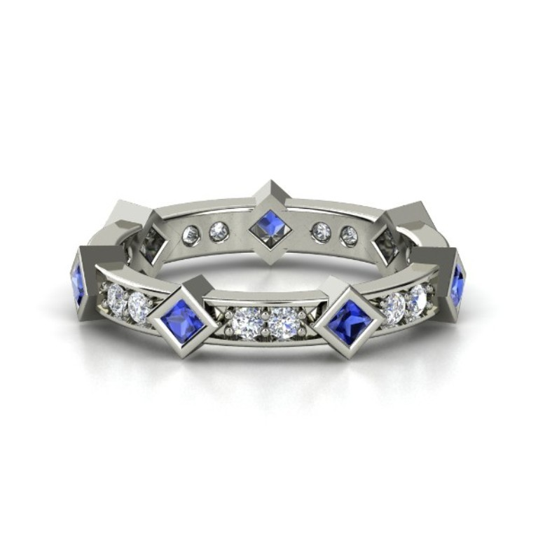 palladium-ring-with-sapphire-diamond 35 Fabulous Antique Palladium Engagement Rings