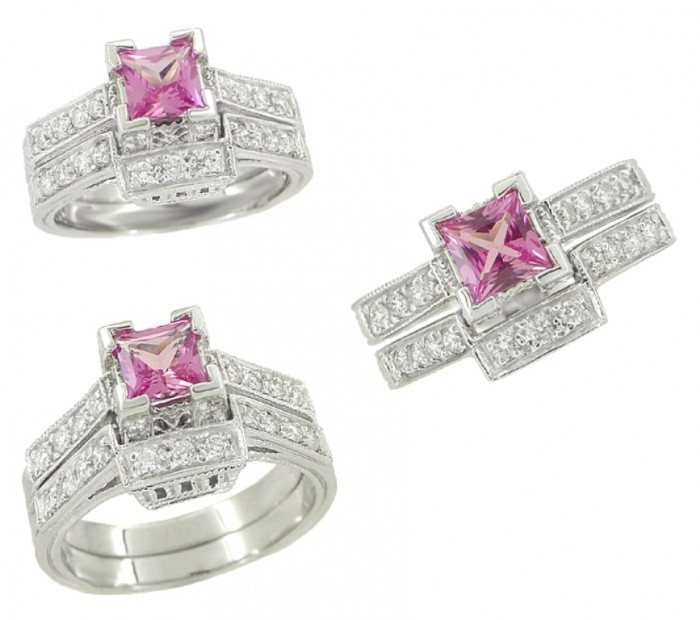 pink-diamond-wedding-ring-sets 35 Dazzling & Catchy Bridal Wedding Ring Sets