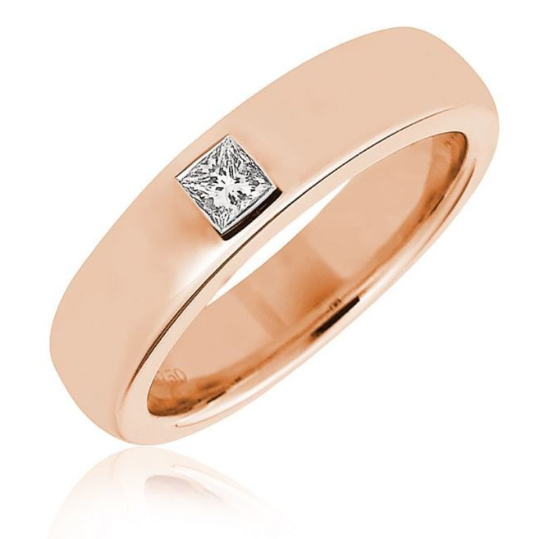 princess-cut-diamond-wedding-ring-in-pink-gold Top 60 Stunning & Marvelous Rose Gold Wedding Bands