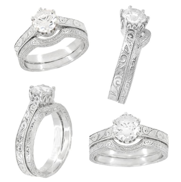 r199wringset 35 Fabulous Antique Palladium Engagement Rings