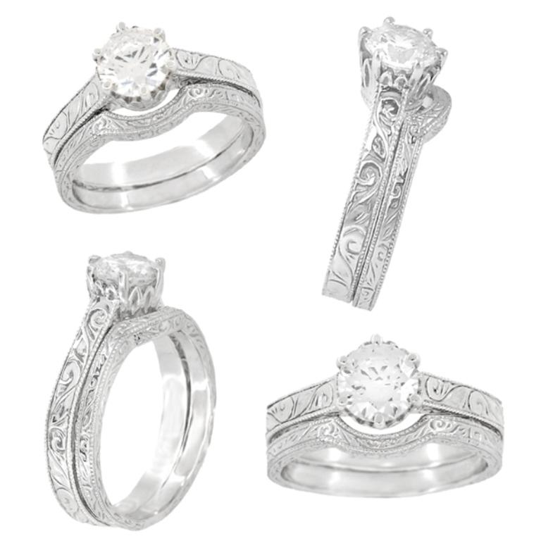 r199wringset 35 Fabulous Antique Palladium Engagement Rings