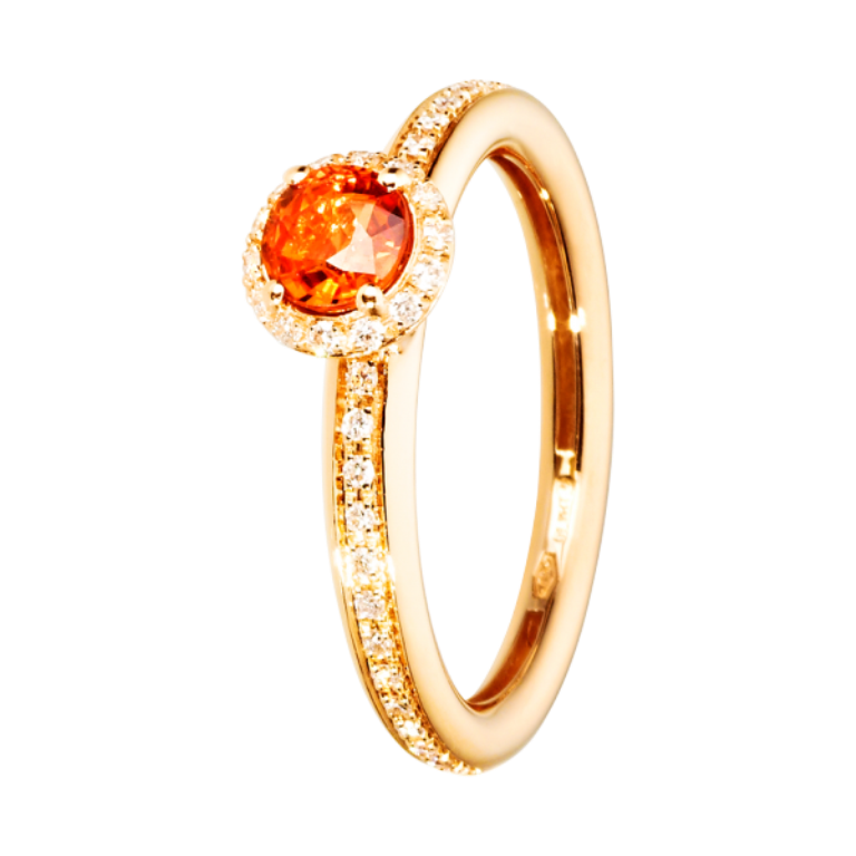 ring-romance-red-gold-sapphire-orange-1 40 Elegant Orange Sapphire Rings for Different Occasions