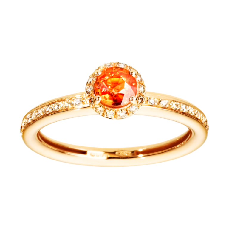 ring-romance-red-gold-sapphire-orange-21 40 Elegant Orange Sapphire Rings for Different Occasions