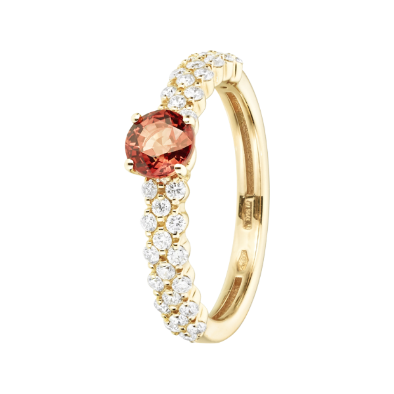 ring-romance-triple-red-gold-sapphire-orange-1 40 Elegant Orange Sapphire Rings for Different Occasions