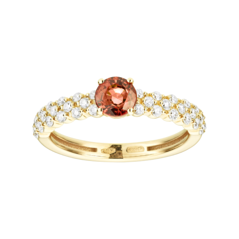 ring-romance-triple-red-gold-sapphire-orange-2 40 Elegant Orange Sapphire Rings for Different Occasions