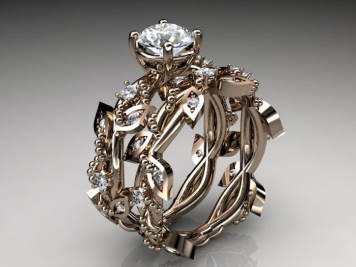 rings-rose-gold-diamond-leaf-and-vine-wedding-ring-engagement-59416 Top 60 Stunning & Marvelous Rose Gold Wedding Bands