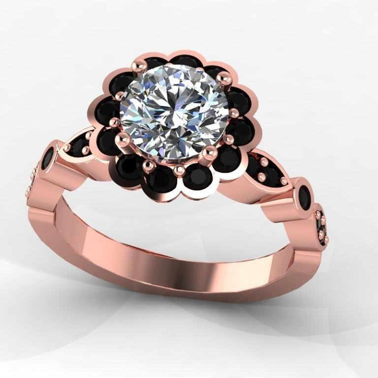 rose-black-diamond-ring 50 Non-Traditional Black Diamond Rose Gold Engagement Rings