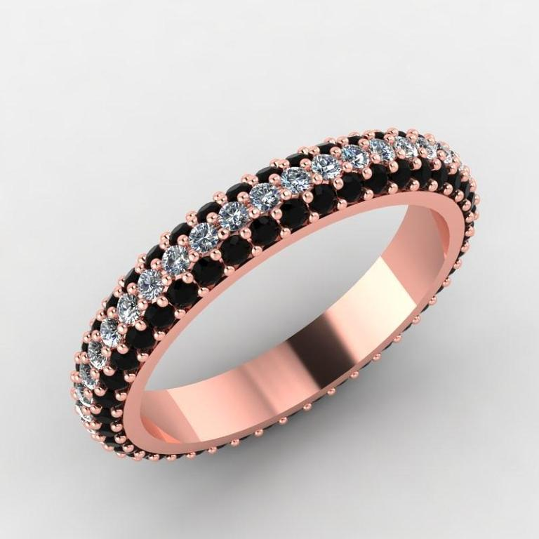 rose-gold-black-diamond-and-white-diamond-eternity-band-eternity-collection 50 Non-Traditional Black Diamond Rose Gold Engagement Rings