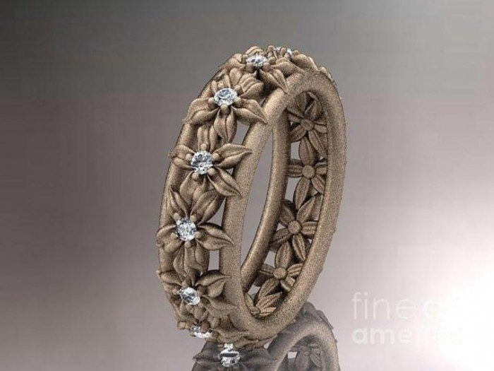 rose-gold-diamond-flower-wedding-ring-engagement-ring-wedding-band-adlr163-anjaysdesigns-com Top 60 Stunning & Marvelous Rose Gold Wedding Bands