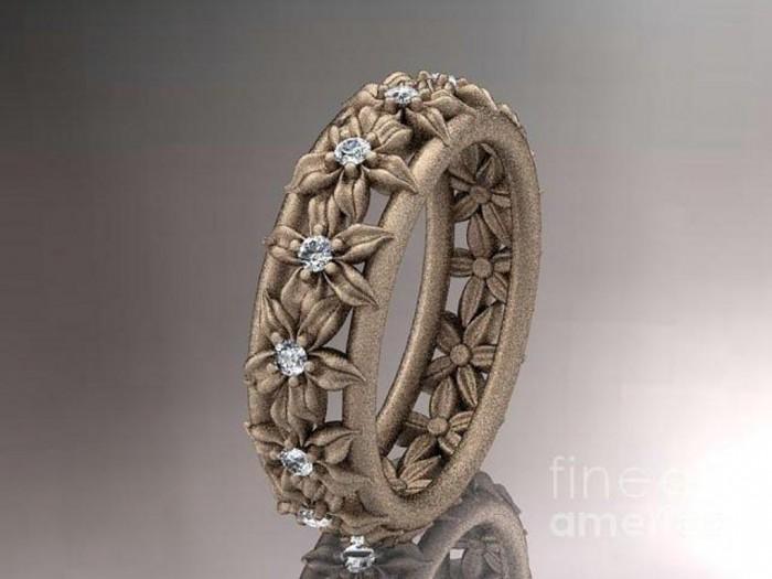 rose-gold-diamond-flower-wedding-ring-engagement-ring-wedding-band-adlr163-anjaysdesigns-com1 Top 70 Dazzling & Breathtaking Rose Gold Engagement Rings
