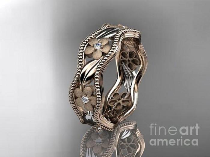 rose-gold-diamond-flower-wedding-ring-engagement-ring-wedding-band-adlr191-anjaysdesigns-com Top 60 Stunning & Marvelous Rose Gold Wedding Bands
