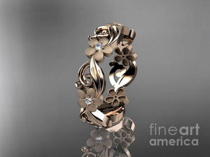 rose-gold-diamond-flower-wedding-ring-engagement-ring-wedding-band-adlr191-anjaysdesigns-com1 Top 60 Stunning & Marvelous Rose Gold Wedding Bands